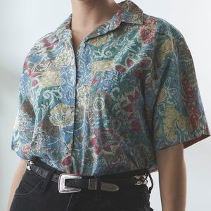 Vintage Floral Print Button Down